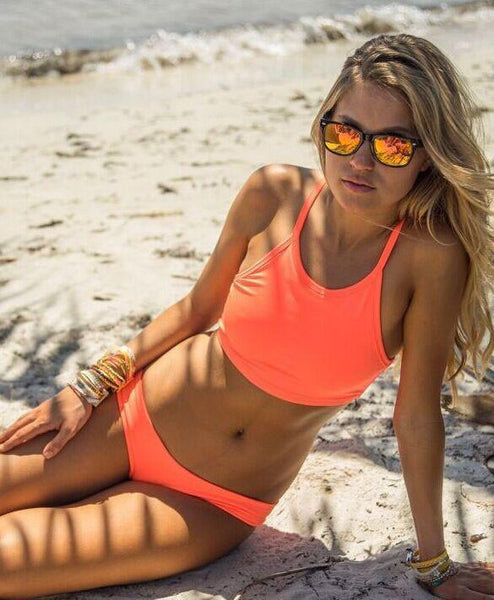 Orange Swimsuit Sexy Bikini Halter Bathing Suit Hot Swimwear - lilyby