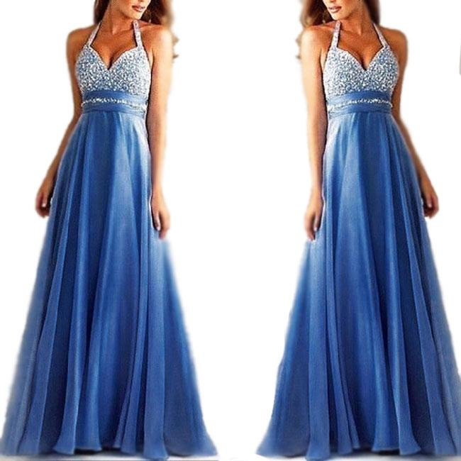 Sexy  V-neck Sequins Backless Formal Prom Gowns Long Maxi Dress Ruffles Chiffon Women's Mesh A-line Formal Evening Dresses For Big Sale!- Fowish.com
