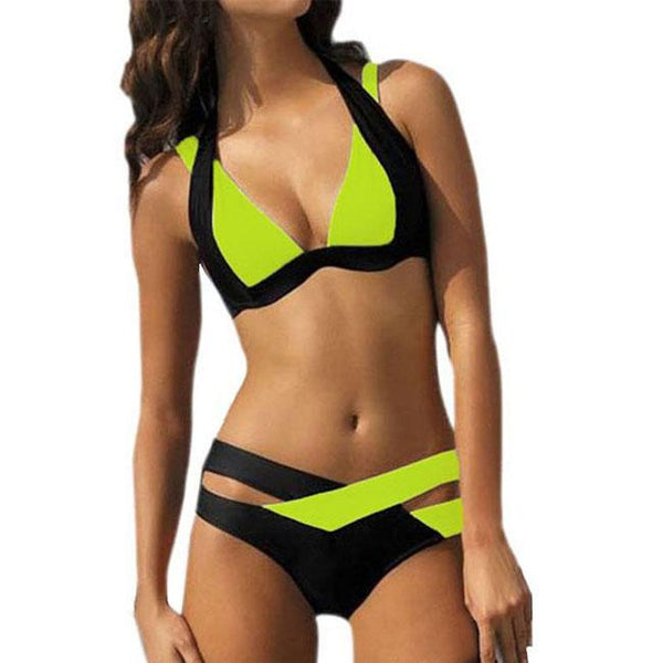 Sexy Contrast Color Crossover Strap Halter Bikini  Women's Summer Swimsuit For Big Sale!- Fowish.com