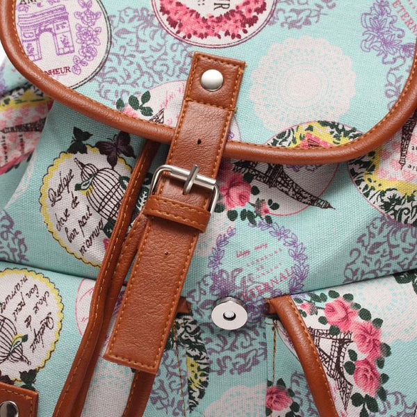 Floral Canvas Schoolbag Backpack Travel Backpack For Big Sale!- Fowish.com
