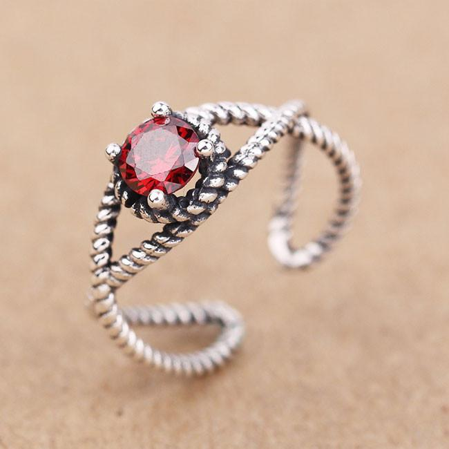 Retro Red Black Zircon Twist Silver Open Rings For Big Sale!- Fowish.com