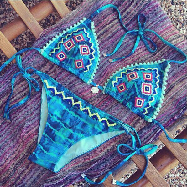 Gradient Embroidery Blue Sexy Bikini Set Swimsuit Beach Bathing Suits For Women - lilyby
