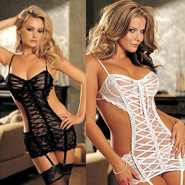 Sexy Women's See Through Cross-strap Backless Slip Dress Underwear Baby Doll Sleepwear Lingerie For Big Sale!- Fowish.com