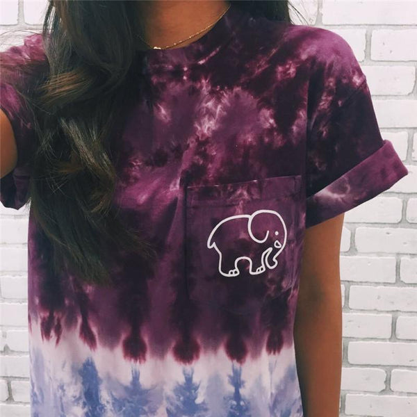 Gradient Elephant Printed Short-sleeved T-shirt - lilyby