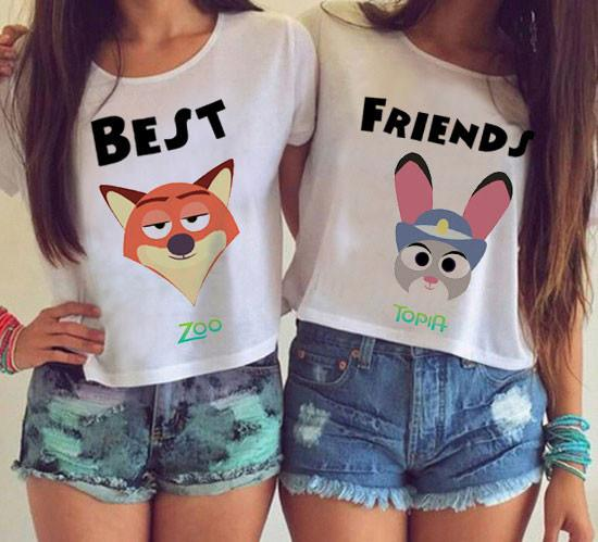 Cartoon Best Friends Printing Paragraph Short T-shirt - lilyby