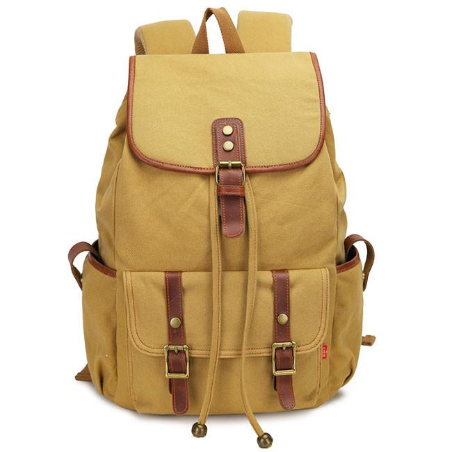Retro Splicing Rivets Travel Rucksack Travelling Large Capacity Outdoor Canvas Backpack For Big Sale!- Fowish.com