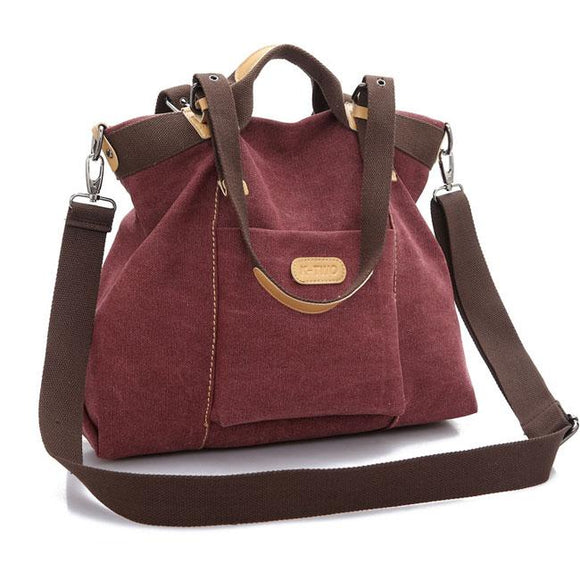Retro Large Capacity Saddle Bag Shoulder Bag Canvas Girl's Multi-function Handbag For Big Sale!- Fowish.com