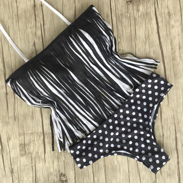 Tassel And Dot Swimsuit Sexy Bikini Bathing Suit Swimwear For Big Sale!- Fowish.com