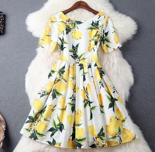 Fashion Lemon printing Beading Silm Short-sleeved Dress Party Dress - lilyby