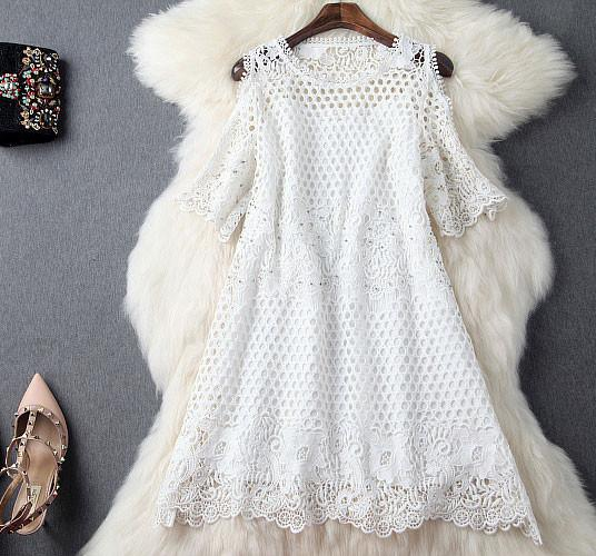 Handmade Beading Crochet Lace Strapless Dress Party Dress-Cream - lilyby