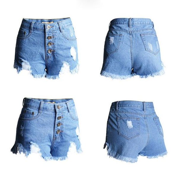 New HoleTassel High Waist More Buttons Denim Shorts Jeans Plus Size Wonmen Shorts - lilyby