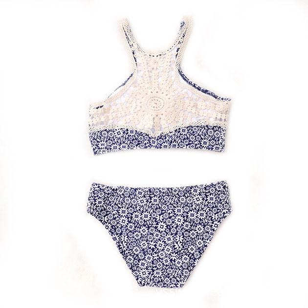 Lilyby Blue chrysanthemum Athletic Printing Bikini SEt Swimsuit Swimwear Bathingsuit - lilyby