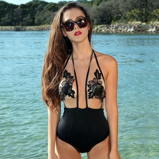 Applique Mesh Halter One-piece Sexy Bandage Bikini Set Swimsuit Swimwear Bathingsuit - lilyby