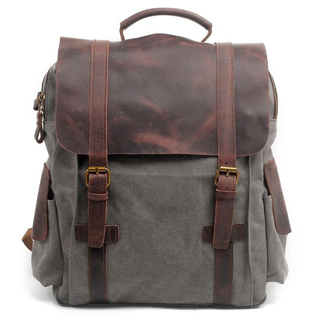 Handmade Ziplock Outdoor Large Rucksack Cowhide Leather Splicing Thick Canvas School Backpacks For Big Sale!- Fowish.com