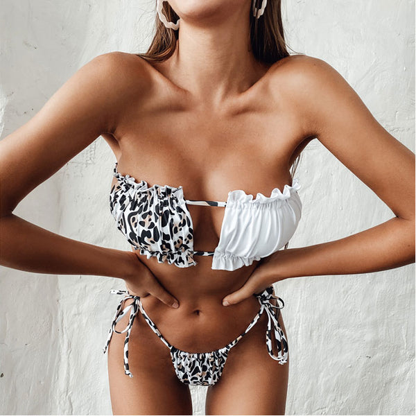 Sexy Irregular Leopard Splicing Pleated Hollow Fashion Summer Swimsuit Bikinis