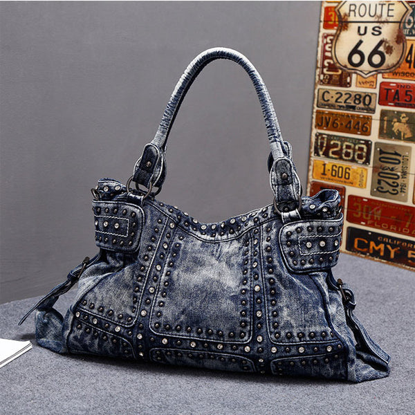 Punk  Large Women Shoulder Bag Retro Rivet Blue Denim Handbag