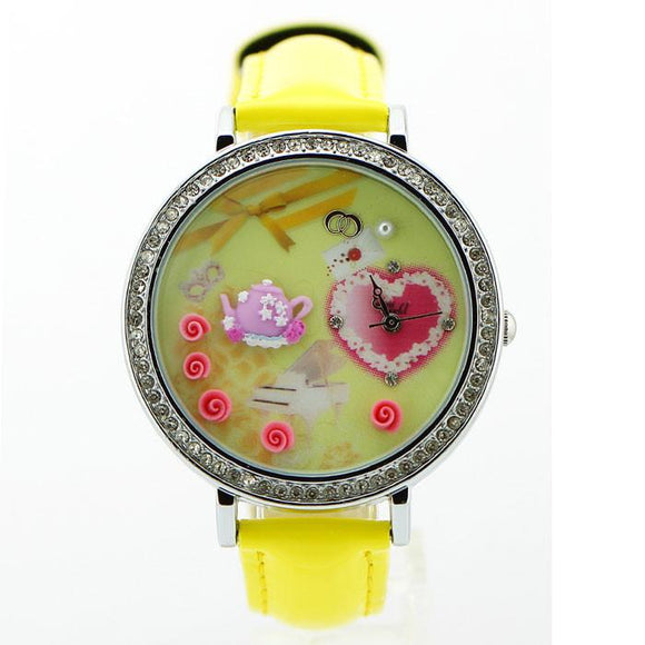 Romantic  Rhinestone Trim Polymer Clay Watch - lilyby