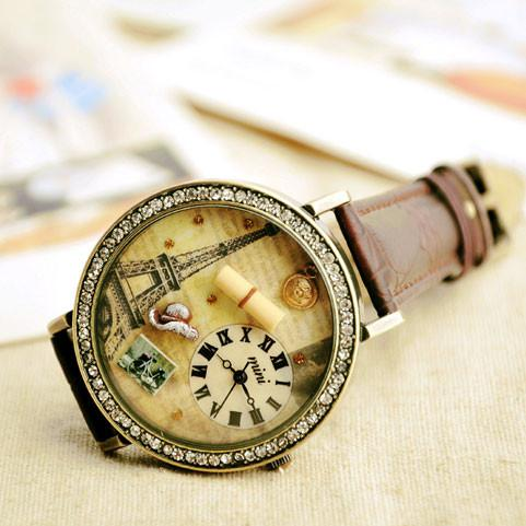 romantic Paris Tower cartoon rhinestone retro watch - lilyby