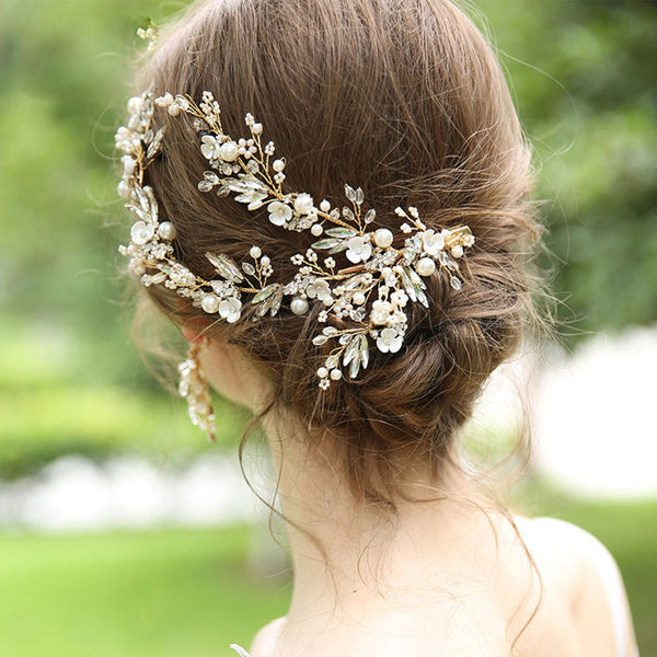 Fresh Bridal Hairpin Flower Branch Leaves Crystal Pearl Wedding Hair Band Hair Accessories