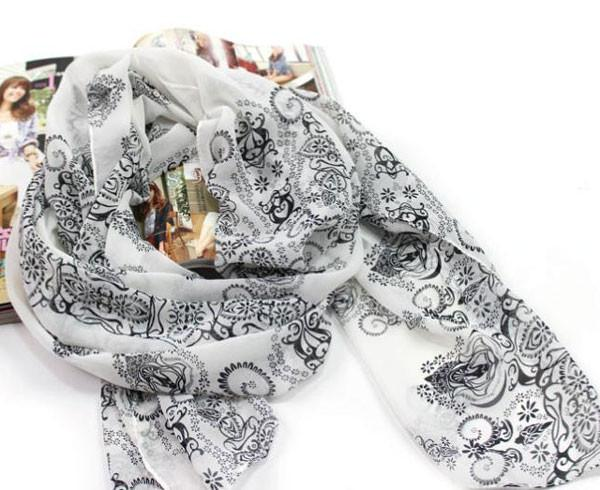 Soft Chiffon Printed Porcelain Long Scarf For Big Sale!- Fowish.com