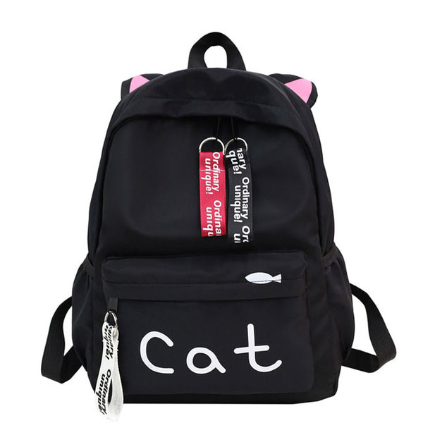 Cute  Cat Letter Pure Color Large Kitten Ear Decor Canvas Student Bag School Backpack
