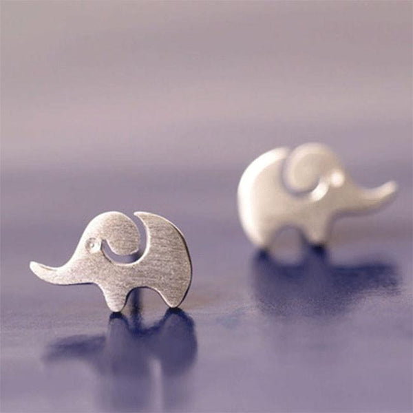 Lovely Creative Hairline Finish Elephant Silver Earring Studs For Big Sale!- Fowish.com