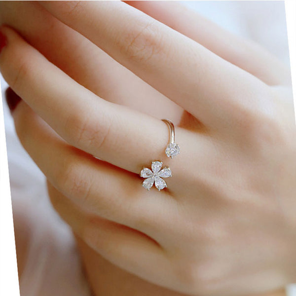 Cute Flower Open Diamond Friend's Gift Silver Ring