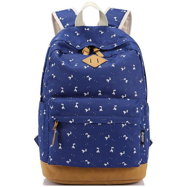 Fresh Elk Printing Student Canvas Rucksack Fawn Girl School Backpacks For Big Sale!- Fowish.com