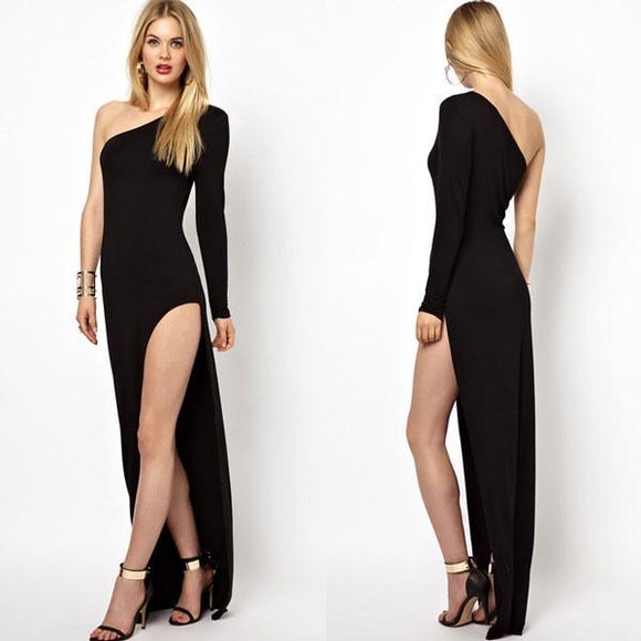 Unique Oblique Shoulder Side Slit Dresses For Big Sale!- Fowish.com