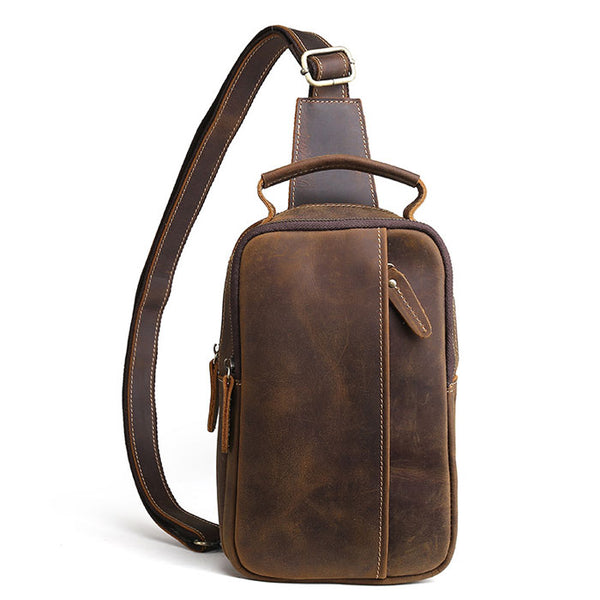 Retro Small Cross-body Bag Thick Leather Original Handmade Men's Shoulder Bag