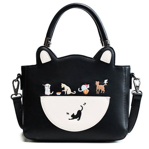 Cute Cat Kitten Handbag PU  Cartoon Shoulder Bag