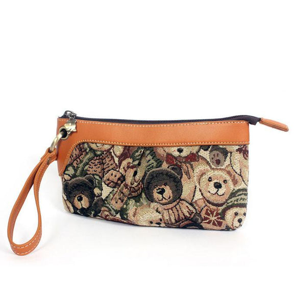 New Blue Spirit Bear Printed Canvas Clutch Bag - lilyby