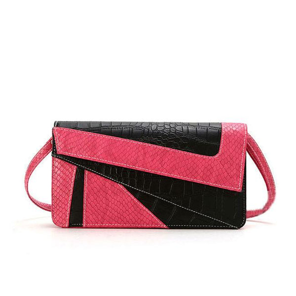New Serpentine Contrast Color Envelope Geometry Clutch Bag - lilyby