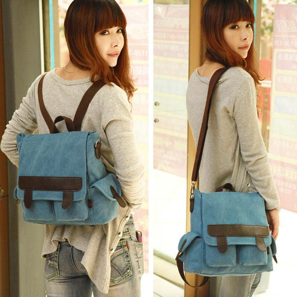 Retro Multifunction Canvas Backpack&Shoulder Bag&Handbag - lilyby