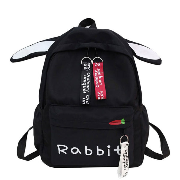 Cute Large Canvas Student Bag Girl School Backpack Rabbit Ear Rucksack