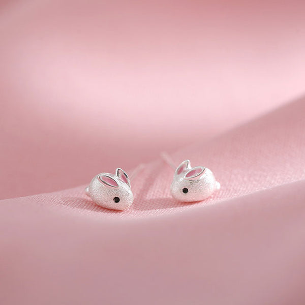 Lovely White Rabbit Women Fresh Silver Mini Animal Lady Earring Studs