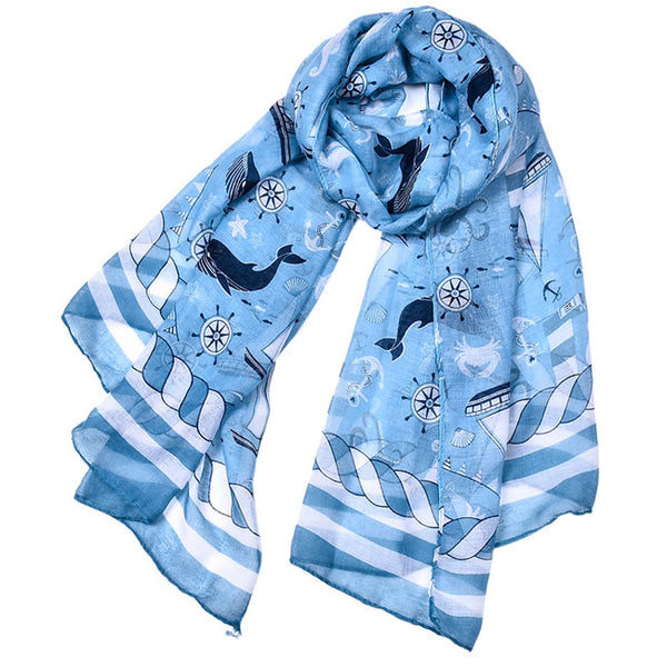 Unique Design Thin Sea Anchor Boat Scarf Shawl Lighthouse Whale Muslim Summer Scarf