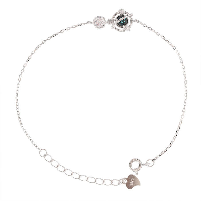 Cute Design Crystal Planet Silver Lady Bracelet