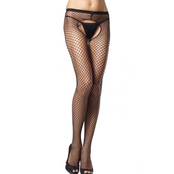 Sexy Open Pants Jumpsuit Stockings Fish Net Women Lingerie