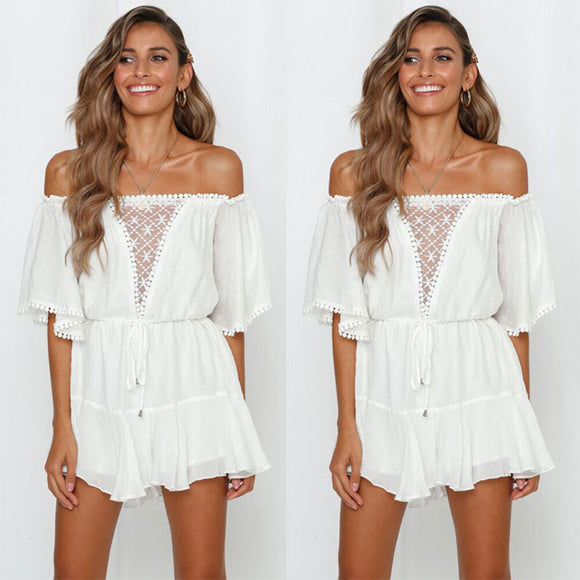 Sexy White Hollow Off-The-Shoulder Romper Mid Sleeve Dress
