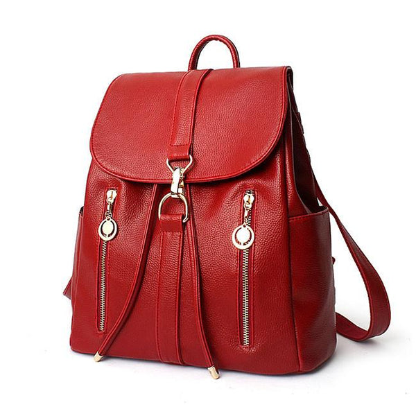 Fashion Travel Soft Leather Rucksack Zipper Women's Shopping Backpacks For Big Sale!- Fowish.com