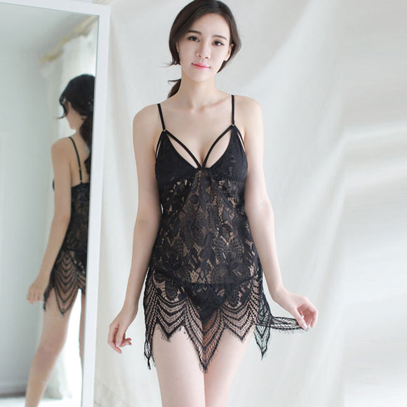 Sexy Erotic Lingerie Strap Nightdress Perspective Pajamas Lace Transparent  Hollow Lingerie