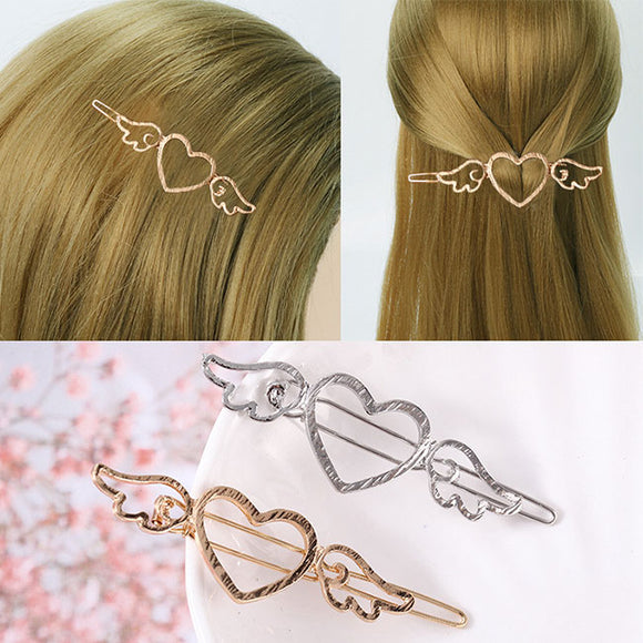 Fashion Cupid Love Heart Angel Wings Metallic Side Women Hollow Hair Clips