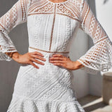 Sweet Round Neck Ruffled Skirt Lace Hollow Long Sleeves Summer Dress