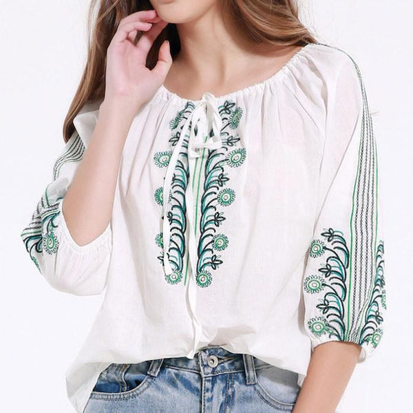 Bandage Quarter Embroidered Casual Loos Tops For Big Sale!- Fowish.com
