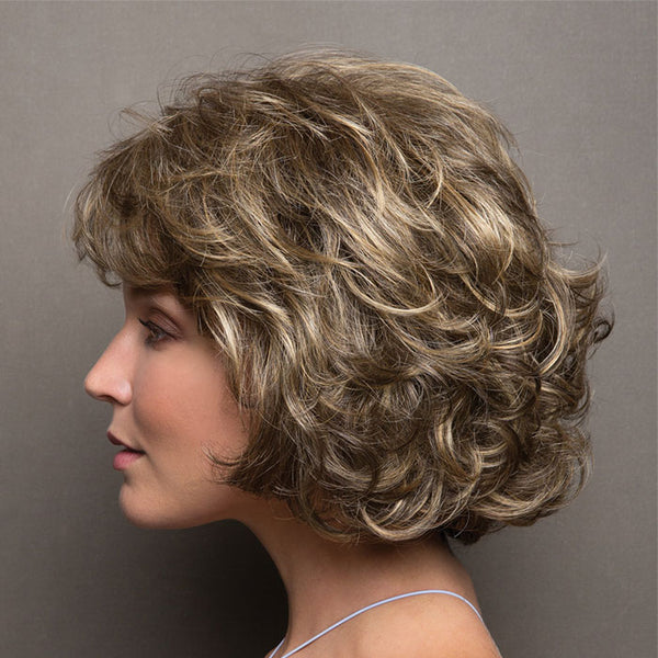 New Middle-aged Lady Mixed Color Hair Wig Short Curly Headgear Hair Wigs