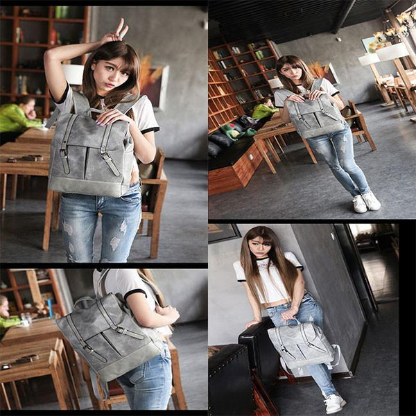 British Women Rucksack Solid Leather Casual College Student Backpack For Big Sale!- Fowish.com