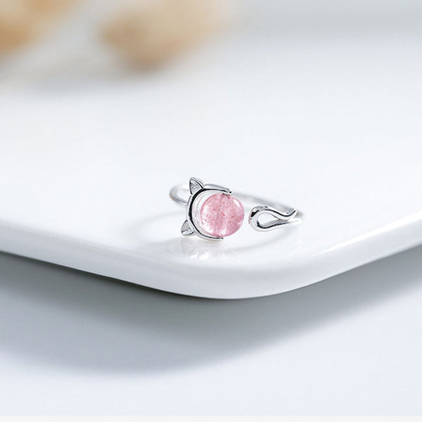 Lovely Silver Strawberry Crystal Cat Female Open Ring