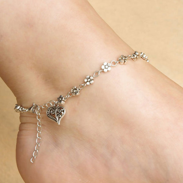 Cute Small Flower Anklet Hollow Foot Accessory Heart-Shaped Ring Anklet