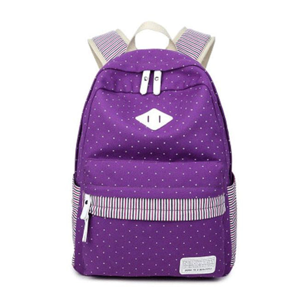 Outdoor Leisure Travel Sports Women's Backpack Canvas Polka Dot and Stripes College Backpack For Big Sale!- Fowish.com